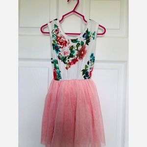 Beautiful  floral pink tulle tutu dress